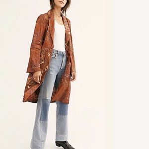 RARE Free People Eye of the Tiger Long Trench Coat